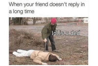 Friends, Funny, and Lol: When your friend doesn't reply in  a long time  lol is u ded