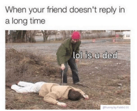 Friends, Memes, and Time: When your friend doesn't reply in  a long time  lol is u ded  efunnybyfabbitt