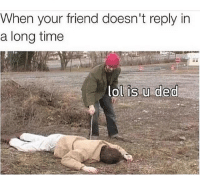 Memes, Mexican, and 🤖: When your friend doesn't reply in  a long time  lol is u ded LMAO😂 FOLLOW US➡️ @so.mexican