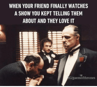 😎: WHEN YOUR FRIEND FINALLY WATCHES  A SHOW YOU KEPT TELLING THEM  ABOUT AND THEY LOVE IT  IGlgaemofthrones 😎