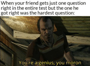 He may be an idiot but he's not stupid: When your friend gets just one question  right in the entire test but the one he  got right was the hardest question:  You're a genius, you moron He may be an idiot but he's not stupid