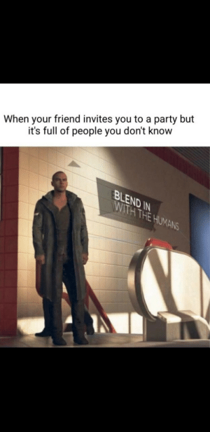 Dank, Memes, and Party: When your friend invites you to a party but  it's full of people you don't know  BLEND IN  WITH THE HUMANS Meirl by sliestpear57990 MORE MEMES