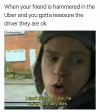 Uber, Dank Memes, and Hell: When your friend is hammered in the  Uber and you gotta reassure the  driver they are ok  Shitheadsteve  I dont think hell die, he  never normally dies.