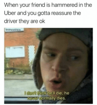 Dank, Uber, and Hell: When your friend is hammered in the  Uber and you gotta reassure the  driver they are ok  Shitheadsteve  dont think hell die, he  never normally dies.