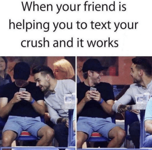 It literally happens to everyone: When your friend is  helping you to text your  crush and it works It literally happens to everyone