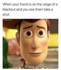 Memes, On the Verge, and 🤖: When your friend is on the verge of a  blackout and you see them take a  shot  Shitheadsteve  So long, partner See ya (@shitheadsteve)
