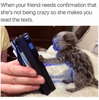 Advice, Crazy, and Friends: When your friend needs confirmation that  she's not being crazy so she makes you  read the texts It's hard to get advice from your besties when they're just as emotionally unbalanced as you are. It's like the blind leading the blind. ButWeMakeItWork NotCrazy justemotional