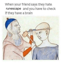 RuneScape, Runescap, and Runescapes: When your friend says they hate  runescape and you have to check  if they have a brain