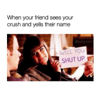 Crush, Shut Up, and Stfu: When your friend sees your  crush and yells their name  @basicbitch  WILL YOu  SHUT UP STFU