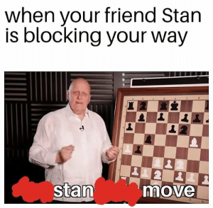 Stan, Friend, and Move: when your friend Stan  is blocking your way  stan  move Gosh darn it, Stan