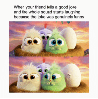<p>Wholesome hatchlings</p>: When your friend tells a good joke  and the whole squad starts laughing  because the joke was genuinely funny  CO <p>Wholesome hatchlings</p>
