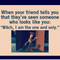 """i am the one: When your friend tells you  that they've seen someone  who looks like you  """"Bitch, I am the one and only."""""""