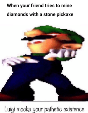 Pathetic.: When your friend tries to mine  diamonds with a stone pickaxe  Luigi mocks your pathetic existence Pathetic.
