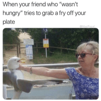 """Friends, Hungry, and The Worst: When your friend who """"wasn't  hungry"""" tries to grab a fry off your  plate  @MasiPopal The worst type of friends 😤😂💯 https://t.co/bnzGZJXVCW"""