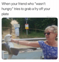 """Food, Funny, and Hungry: When your friend who """"wasn't  hungry"""" tries to grab a fry off your  plate  @MasiPopal Marybeth doesn't fuck around when it comes to her food"""