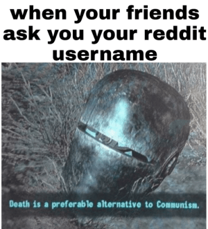 Friends, Reddit, and Death: when your friends  ask you your reddit  username  Death is a preferable alternative to Communism. So I've chosen death