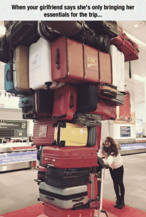 awesomesthesia:  Travelling Light: When your girlfriend says she's only bringing her  essentials for the trip...  CIBC  Tu  CIBC  ags  ONATIVELY GTER  AND STPONGEP  m L . awesomesthesia:  Travelling Light