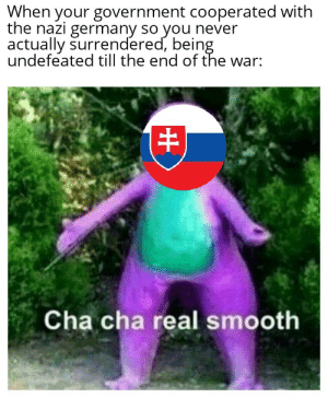 Smooth, Germany, and History: When your government cooperated with  the nazi germany so you never  actually surrendered, being  undefeated till the end of the war:  Cha cha real smooth SNP all the way to Tatry