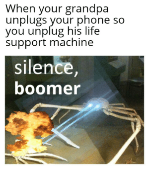 A boomer meme because we all need a break from ww3 memes: When your grandpa  unplugs your phone so  you unplug his life  support machine  silence,  boomer A boomer meme because we all need a break from ww3 memes