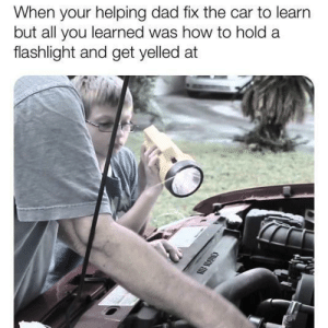 Dad, Dank, and Memes: When your helping dad fix the car to learn  but all you learned was how to hold a  flashlight and get yelled at Fatherly bonding by brainstain101 MORE MEMES