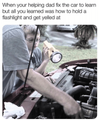 Anaconda, Dad, and Memes: When your helping dad fix the car to learrn  but all you learned was how to hold a  flashlight and get yelled at 100% true 😂
