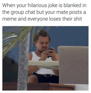 Dank, Group Chat, and Meme: When your hilarious joke is blanked in  the group chat but your mate posts a  meme and everyone loses their shit I don't get it by Holofan4life FOLLOW 4 MORE MEMES.