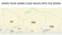 "Homie, Memes, and Http: WHEN YOUR HOMIE CHAD WALKS INTO THE ROOM  Ma  ger  Cha  Niamey  ako  N'Djamena  Burkina  Faso  Kano <p>African Chad via /r/memes <a href=""http://ift.tt/2BNy4e2"">http://ift.tt/2BNy4e2</a></p>"
