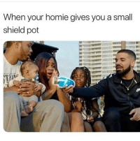 Homie, Memes, and 🤖: When your homie gives you a small  shield pot Gods plan