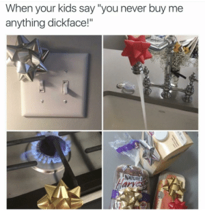 """Kids, Power, and Never: When your kids say """"you never buy me  anything dickface!'  NATURES  arves  40 Power moves"""