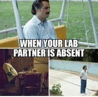 Memes, Science, and 🤖: WHEN YOUR LAB  PARTNERIS ABSENT Join our group: Science Memes