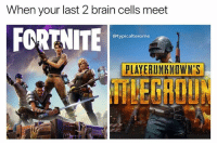 Memes, Brain, and 🤖: When your last 2 brain cells meet  FCRTNITE  @typicalterome  PLAYERUNKNOWN'S  LEGROUN PUBG is a H1Z1 reskin and Fortnite is PUBG for 12 year olds gm