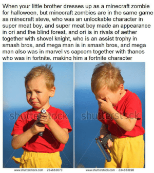 This is......true: When your little brother dresses up as a minecraft zombie  for halloween, but minecraft zombies are in the same game  as minecraft steve, who was an unlockable character in  super meat boy, and super meat boy made an appearance  in ori and the blind forest, and ori is in rivals of aether  together with shovel knight, who is an assist trophy in  smash bros, and mega man is in smash bros, and mega  man also was in marvel vs capcom together with thanos  who was in fortnite. makina him a fortnite character  shugterstdck shutterstck  www.shutterstock.com 234663073  www.shutterstock.com 234663190 This is......true
