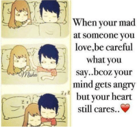 Memes, Angry, and Be Careful: When your mad  at someone you  love,be careful  what you  say..bcoz your  mind gets angry  but your heart  still cares..