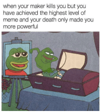 Meme, Death, and Heroes: when your maker kills you but you  have achieved the highest level of  meme and your death only made you  more powerful <p>heroes never die</p>