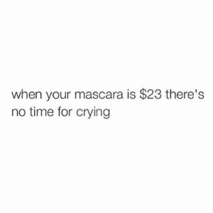 Yassss! NO TIME!!!: when your mascara is $23 there's  no time for crying Yassss! NO TIME!!!