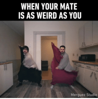 Memes, Weird, and 🤖: WHEN YOUR MATE  IS AS WEIRD AS YOU  Merguez Studio He always got you covered. 🎶Follow @9gaggroove - 📸@merguezstudio - blanketdance