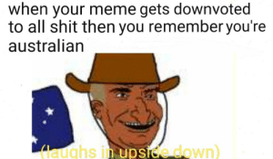 Aussie memes (sorry for reposting. Having internet issues): when your meme gets downvoted  to all shit then you remember you're  australian  laughs in upside down) Aussie memes (sorry for reposting. Having internet issues)