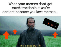 Life, Love, and Memes: When your memes don't get  much traction but you're  content because you love memes..  79  It's a peaceful life
