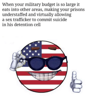 Lol, Sex, and Budget: When your military budget is so large it  eats into other areas, making your prisons  understaffed and virtually allowing  a sex trafficker to commit suicide  in his detention cell Lol government stupid