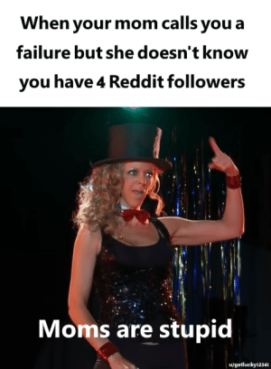 me_irl: When your mom calls you a  failure but she doesn't know  you have 4 Reddit followers  Moms are stupid  u/getlucky12341 me_irl