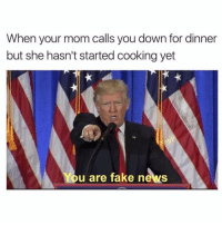 😆😆😂: When your mom calls you down for dinner  but she hasn't started cooking yet  You are fake news 😆😆😂