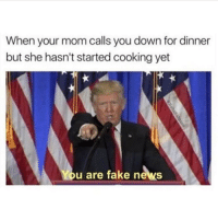 Memes, 🤖, and Usa: When your mom calls you down for dinner  but she hasn't started cooking yet  You are fake news Lmao 😂😂 take me back to those simpler times ------------- MakeAmericaGreatAgain MAGA HillaryForPrison2016 Nobama BuildTheWall Merica USA Trump2016 TrumpPence2016 BlueLivesMatter AllLivesMatter DonaldTrump Deplorables DeplorableLivesMatter