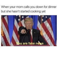 America, Fake, and Memes: When your mom calls you down for dinner  but she hasn't started cooking yet  u are fake news You are fake news😂😂 liberal maga conservative constitution like follow presidenttrump resist stupidliberals merica america stupiddemocrats donaldtrump trump2016 patriot trump yeeyee presidentdonaldtrump draintheswamp makeamericagreatagain trumptrain triggered Partners --------------------- @too_savage_for_democrats🐍 @raised_right_🐘 @conservativemovement🎯 @millennial_republicans🇺🇸 @conservative.nation1776😎 @floridaconservatives🌴