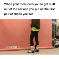 "Shoes, Tumblr, and Blog: When your mom calls you to get stuff  out of the car and you put on the first  pair of shoes you see.  @dropsofphotoshop IG  anything could- happen-3 Tumblr <p><a href=""http://anything-could-happen-3.tumblr.com/post/157222006900/if-the-whole-outfit-was-disco-or-whatever-then"" class=""tumblr_blog"">anything-could-happen-3</a>:</p>  <blockquote><p>If the whole outfit was ""disco"" (or whatever) then ok, the boots would be kinda edgy for a photo shoot but…… it just looks out of place :P</p></blockquote>"