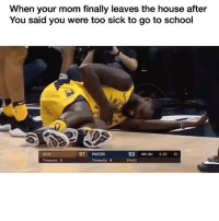 Af, Funny, and School: When your mom finally leaves the house after  You said you were too sick to go to school  HEAT  97 PACERS  93 4th Qtr 5:39 20  ONUS accurate af😂