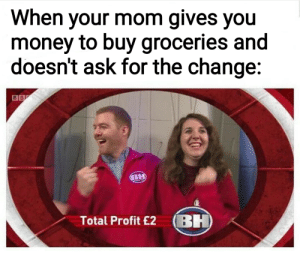 Dank, Memes, and Money: When your mom gives you  money to buy groceries and  doesn't ask for the change:  Total Profit £2 BH The cost to benefit ratio is off the charts. by babydoll_bd MORE MEMES