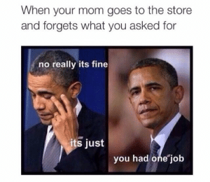Pinterest, Mom, and Job: When your mom goes to the store  and forgets what you asked for  no really its fine  its just  you had one job 𝘍𝘰𝘭𝘭𝘰𝘸 𝘮𝘺 𝘗𝘪𝘯𝘵𝘦𝘳𝘦𝘴𝘵! → 𝘤𝘩𝘦𝘳𝘳𝘺𝘩𝘢𝘪𝘳𝘦𝘥
