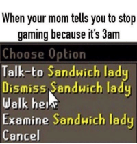 Gaming, Mom, and Sandwich: When your mom tells you to stop  gaming because it's 3am  Choose Option  Talk-to Sandwich lady  Dismiss Sandwich lady  Walk hen  Examine Sandwich lady  Cancel <p>THIS A CLASSIC</p>