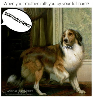 Facebook, facebook.com, and Classical Art: When your mother calls you by your full name  BARKTHOLOMEW!!  Heck!  CLASSICALARTMEMES  facebook.com/classicalartmemes