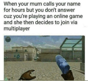 Moms always find a way to beat their kids.: When your mum calls your name  for hours but you don't answer  cuz you're playing an online game  and she then decides to join via  multiplayer Moms always find a way to beat their kids.